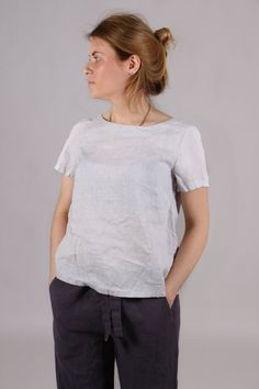 Linen women shirt. Short sleeve top. Linen women blouse. Linen women top. Round neckline shirt. Linen T-shirt. by Maliposhaclothes on Etsy