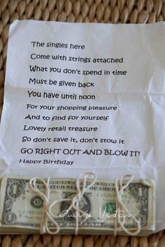 Fun Birthday poem with $$$ attached