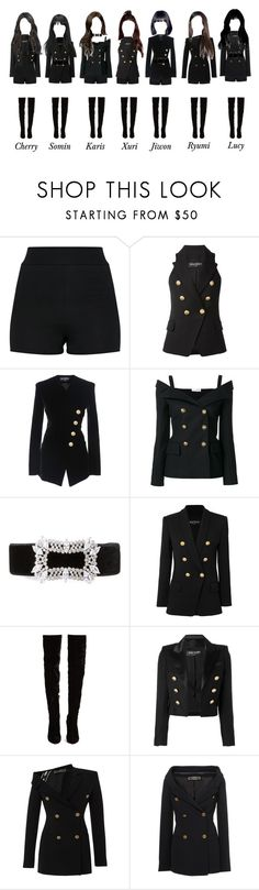 """Crystar - Black Dress Debut Showcase"" by k-anons ❤ liked on Polyvore featuring Balmain, Faith Connexion, Fallon, Christian Louboutin, Versace and Chanel"