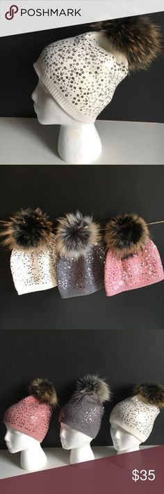 NWT Real Fur Detachable Pom Pom Sequined Beanie REAL FUR Detachable Pom Pom Sequined Beanie Boutique Item New with Tags. . Pls note each pom fur color may vary slightly this is a natural quality of the fur.  Colors Available in separate listing GREY PINK  Price is for one Hat. PRICE Firm unless bundled. Edgi Shop Accessories Hats