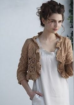 From Loop-d-Loop Lace.  Adorable cropped shrug that I MUST make.