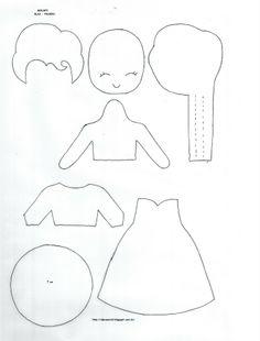 Risultati immagini per lappoppe free pattern Muñeca Elsa Frozen, Frozen Felt, Felt Fabric, Fabric Dolls, Paper Dolls, Felt Crafts Patterns, Felt Templates, Felt Quiet Books, Felt Dolls