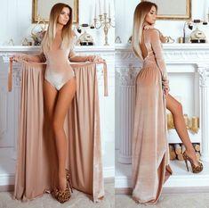 Комплект женский боди+юбка в пол бежевый