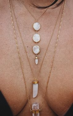 Stone necklace layered collection looks amazing over a low cut shirt/dress or a knit sweater and blouse