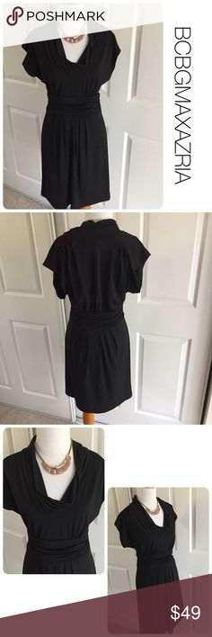 BCBGMAXAZRIA classic black dress S ♦️Excellent condition. No holes, stains or piling. Super figure flattering.                                                  ♦️Materials- 94 polyester/6 spandex ♦️Measurements:                                  ♦️Laying flat armpit to armpit: approximately 16.5 inches.                                              ♦️Laying flat from the back of the neck to the bottom of the front hem is approximately 35 inches BCBGMaxAzria Dresses Midi