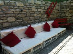 Nice Pallet Furniture For Guesthouse Pension  #garden #palletlounge #palletsofa #recyclingwoodpallets This all began with a friend of mine, owner of the guesthouse, who loves such ideas. So it got alive on the sunny terrace in the beautiful Transylvani...