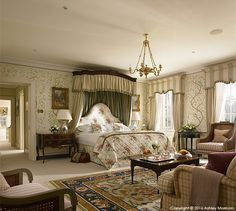 The master bedroom in Straffan House at The K Club in County Kildare. Morrisons, Hotel Interiors, Country Estate, Cool Rooms, Dublin, Master Bedroom, Curtains, Luxury, House