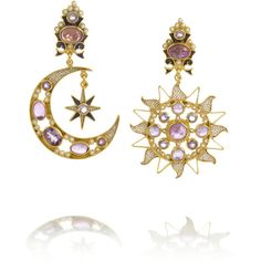 Percossi Papi Diego Sun and Moon gold-plated amethyst earrings (1 130 AUD) ❤ liked on Polyvore featuring jewelry, earrings, accessories, purple, amethyst jewelry, gold plated earrings, amethyst earrings, purple earrings and purple amethyst earrings