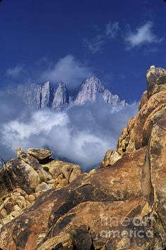 Mount Whitney In Clouds Alabama Hills California Photograph  Fine Art Print - Dave Welling