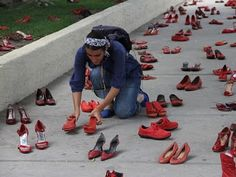 Red Shoe Art Display by Elina Chauvet