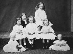 """Left to right:Prince Christian Victor of Schleswig-Holstein (on floor);Prince Albert Victor of Wales;Princess Irene of Hesse (Darmstadt) and By Rhine, Princess Elisabeth of Hesse (Darmstadt) and By Rhine and Princess Victoria of Hesse (Darmstadt) and By Rhine;Prince George of Wales and Princess Louise of Wales. """"AL"""""""