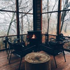 wood burning stove on the cabin screened porch (Outdoor Wood Tiny Cabins) Black And White Interior, White Interior Design, Interior And Exterior, Classic Interior, Interior Doors, Outdoor Spaces, Outdoor Living, Outdoor Decor, Outdoor Sheds
