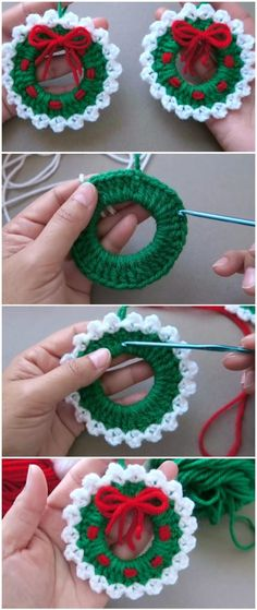 (no title) Crochet Christmas wreath ornamentCrochet Christmas Wreaths Ornament crochet sock knitting knitting strickenisttoll A strand crochet wreath base Crochet Christmas Wreath, Crochet Wreath, Crochet Christmas Decorations, Crochet Christmas Ornaments, Christmas Crochet Patterns, Holiday Crochet, Crochet Flowers, Christmas Diy, Christmas Wreaths