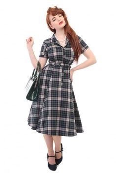 Collectif Vintage Caterina Sherwood Check Swing Dress - Collectif Vintage from Collectif UK