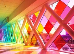 Could be lighting design, today it's architecture. Either way, it's beautiful! Harmonic Convergence installation by Christopher Janney at Miami Airport. Miami Airport, Art Basel Miami, Art Miami, Miami City, Taste The Rainbow, Jolie Photo, World Of Color, Beach Art, Stained Glass Windows