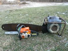 Anyone into collecting saws? Antique Woodworking Tools, Antique Tools, Vintage Tools, Woodworking Furniture, Woodworking Projects, Chainsaw Repair, Chainsaw Mill, Stihl Chainsaw, Leather Rifle Sling