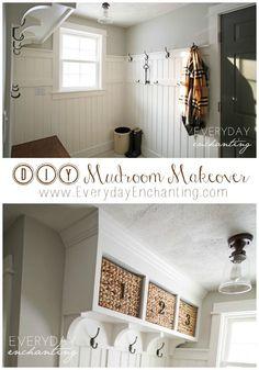 DIY Laundry Closet to Mudroom Makeover- Discover how one blogger transformed a dark and dingy laundry closet to a bright and open mudroom! www.EverydayEnchanting.com