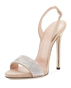 """Giuseppe Zanotti suede sandal. 4.3"""" covered heel. Crystal strap bands open toe. Adjustable halter strap. Smooth outsole. """"Coline"""" is made in Italy."""