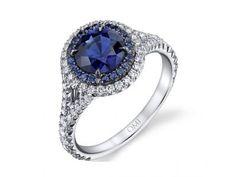 Platinum, sapphire and diamond engagement ring #igorman