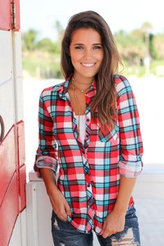 Get this cute, comfy Red and Mint Plaid Top from Saved by the Dress Boutique. Great plaid shirt for mixing and matching. Looks awesome with jeans or leggings! This is a must have cute top. Plaid Shirt Outfits, Cute Outfits, Plaid Shirts, Fall Fashion Trends, Autumn Fashion, Fashion Ideas, Women's Fashion, Mommy Style, Bra Tops