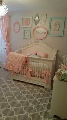 Nursery Vintage Shabby Chic Pink And Mint Green By Stanton Interior Decorating Staging In West Chester Ohio