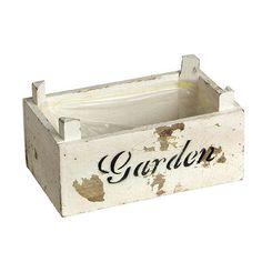 Καφασάκι διακοσμητικό ξύλινο σε λευκό αντικέ χρώμα με παιλαίωση και τύπωμα  Garden. Είναι επενδυμένο με ναύλον και μπορεί να χρησιμοποιηθεί και ως κασπώ για τα λουλούδια σας.   Διάσταση: 19Χ11X8 cm