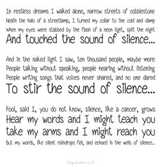 I've always loved this song.  Sound of Silence