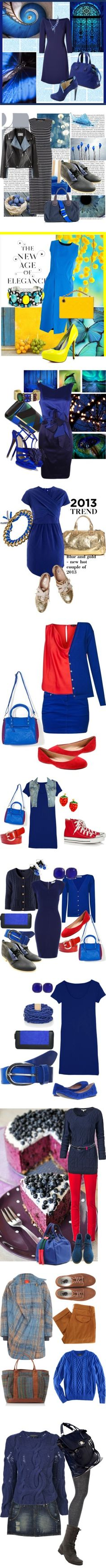 """Blue sets"" by airora ❤ liked on Polyvore"