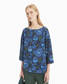The Nupu shirt is made of viscose crepe in the Pilvipuutarha pattern. The shirt has a boatneck and loose cropped sleeves that are dropped at the shoulder. Normal Body, Marimekko, Long Toes, Bold Prints, Coat Dress, Body Measurements, Body Shapes, Boat Neck, Designer Dresses