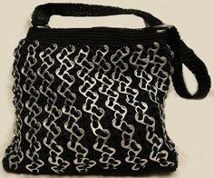 Zigzag soda can tab crochet black bag. $70.00, via Etsy.