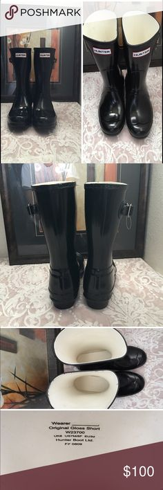 "Original Short' Gloss Rain Boot 1"" heel  10"" boot shaft; 15"" calf circumference. Pull-on style. In hot or humid weather, natural latex rubber releases a protective wax film; simply wipe it off with a damp cloth. A pristine finish and shine is easily restored with regular use of Hunter Boot Buffer or Instant Boot Shine. Rubber upper/textile lining/rubber sole. By Hunter; imported. Women's Shoes.   🗓✍🏻 please look at the size in the picture ✔️ Hunter Boots Shoes Ankle Boots & Booties"