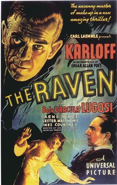 The Raven Vintage Horror Movie Posters Horror Movie Posters, Old Movie Posters, Classic Movie Posters, Classic Horror Movies, Cinema Posters, Movie Poster Art, Classic Films, Horror Films, Horror Icons
