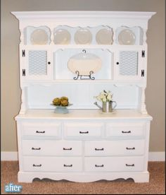 white hutch makeovers! Started on my Nana's vintage buffet and hutch last night!