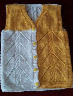 Burgu Ve Ajur Desenli 2 Renkli Çocuk Yeleği Tarifi. Baby Hats Knitting, Sweater Knitting Patterns, Knitting Designs, Knitted Hats, Baby Scarf, Baby Cardigan, Pull Bebe, Kids Vest, Clothing Tags
