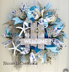 Hey, I found this really awesome Etsy listing at https://www.etsy.com/listing/236540010/deco-mesh-wreath-summer-wreath-ocean