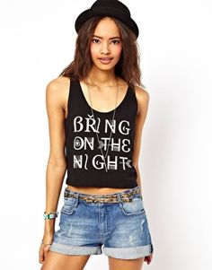 ASOS Crop with Bring On The Night Print (I HAVE A MIGHTY NEED!)