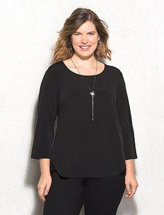 roz & ALI™ Plus Size Zip-Back Lace Knit Top