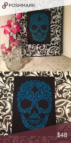 Skull in damask pattern hand stitched Skull in damask pattern hand stitched  on 14 count Aida (cross stitch fabric) for decorative purposes.  Don't like blue? Pick your colors!!!!! First choose the background color you would like: black or white. Then choose the stitch color.  The item will be made to order. Stitching will take approximately 2 weeks. Item will ship the first business day after its completion. Other