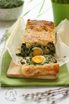 Wielkanocna tarta ze szpinakiem i jajkiem   Chilli, Czosnek i Oliwa   blog kulinarny Chilli, Spanakopita, Sandwiches, Breakfast, Ethnic Recipes, Blog, Diet, Pies, Morning Coffee