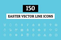 150 Easter Vector Line Icons by Creative Stall on @creativemarket