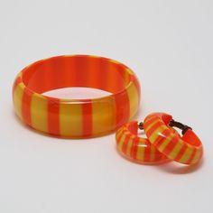 Vintage Orange/Yellow Translucent Striped Lucite Bangle Bracelet and Hoop Earrings