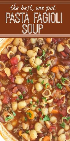 Pasta Fagioli Soup Olive Garden Copycat Fagioli Soup Soup One Pot Soup Recipes Together as Family Beef Soup Recipes, Ground Beef Recipes, Yummy Recipes, Healthy Recipes, Dinner Recipes, Chicken Recipes, Italian Soup Recipes, Soup With Italian Sausage, Simple Soup Recipes