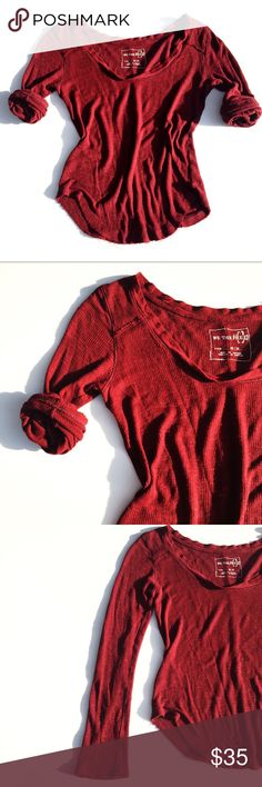 FREE PEOPLE long sleeve shirt Possibly the softest material ever. Deep maroon color. Deconstructed edges. Length appx 24.  Thank you for visiting my closet. Please feel free to ask any questions. 99% of the time I ship the next day. Free People Tops Tees - Long Sleeve