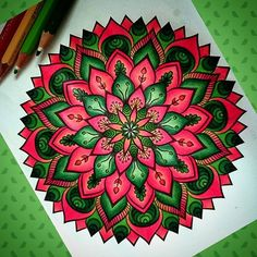 Hello colourful Sunday! a bit unusual #colour #combo for #me, but I'm pretty #satisfied  with the final look of this #flowery #mandala.