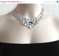 ON SALE bib necklace - crystal clear rhinestone bib necklace, bridal necklace, bridesmaids, prom necklace birthday gift or for you NEW. $22.50, via Etsy.