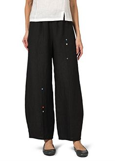 Vivid Linen Embroidered Ankle Length Pants-XL-Black -- Additional info @ http://www.amazon.com/gp/product/B016I55X34/?tag=clothing8888-20&pno=220716063050