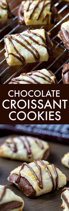 Croissant Cookies Chocolate Croissant Cookies - a buttery dough wrapped around a chocolate bar.Chocolate Croissant Cookies - a buttery dough wrapped around a chocolate bar. Cookie Desserts, Just Desserts, Cookie Recipes, Delicious Desserts, Dessert Recipes, Yummy Food, Cookie Jars, Delicious Chocolate, Chocolate Recipes