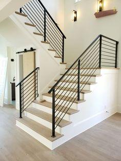 Watson Steel & Iron Works | Railing Indoor Stair Railing, Steel Stair Railing, Steel Railing Design, Staircase Railing Design, Interior Stair Railing, Modern Stair Railing, Wrought Iron Stair Railing, Staircase Makeover, Modern Stairs