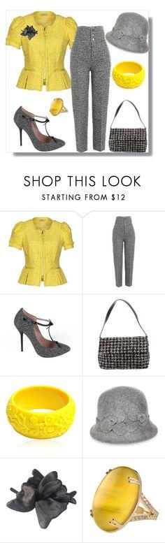 """Yellow & grey pantsuit"" by joyfulmum ❤ liked on Polyvore featuring Nina Ricci, Joseph, Gucci, Kate Spade, Mariah Rovery, Nine West, Lanvin and Misahara"