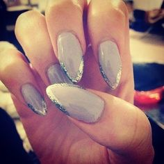 grey sparkle tips